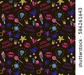 cute fashion seamless pattern... | Shutterstock .eps vector #586261643