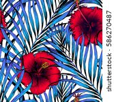 seamless tropical pattern.... | Shutterstock .eps vector #586270487