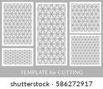 decorative panels set for laser ...   Shutterstock .eps vector #586272917