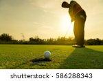 pro golf long putting golf ball ... | Shutterstock . vector #586288343