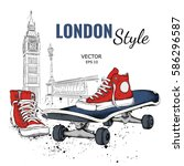 hand drawn vector sneakers and... | Shutterstock .eps vector #586296587