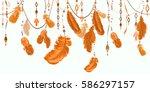 plumage. feathering. boho... | Shutterstock .eps vector #586297157