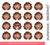 set of female facial emotions.... | Shutterstock .eps vector #586304657
