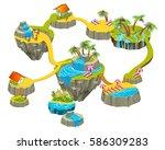 isometric levels game islands... | Shutterstock .eps vector #586309283