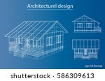 3d rendering of house wireframe ... | Shutterstock .eps vector #586309613