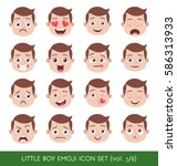 set of kid facial emotions.... | Shutterstock .eps vector #586313933