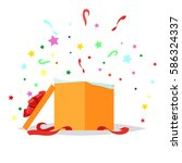 open square gift box with bow... | Shutterstock .eps vector #586324337