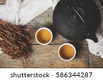 traditional japanese herbal tea ... | Shutterstock . vector #586344287