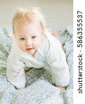 cute smiling babygirl in... | Shutterstock . vector #586355537