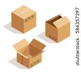 vector isometric cardboard box. ...   Shutterstock .eps vector #586357397