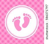 girl baby shower invitation... | Shutterstock . vector #586371797