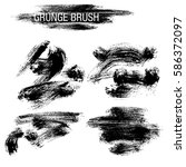 vector set of grunge brush... | Shutterstock .eps vector #586372097