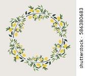 lemon wreath. vector. isolated. | Shutterstock .eps vector #586380683
