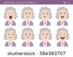 set of grandma facial emotions. ... | Shutterstock .eps vector #586383707