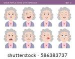 set of grandma facial emotions. ... | Shutterstock .eps vector #586383737