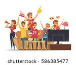 colored sport fans watching tv... | Shutterstock .eps vector #586385477
