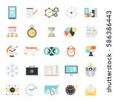 time management icons set with... | Shutterstock .eps vector #586386443