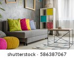 grey comfortable couch with... | Shutterstock . vector #586387067
