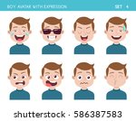 set of kid facial emotions. boy ... | Shutterstock .eps vector #586387583