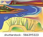 natural landscape with the river | Shutterstock .eps vector #586395323