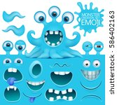 funny octopus emoji monster... | Shutterstock .eps vector #586402163