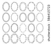 set of hand drawn fancy wreaths ... | Shutterstock .eps vector #586415723