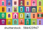 vector set of flat vintage... | Shutterstock .eps vector #586423967