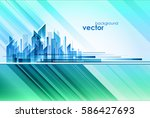 abstract night city  vector... | Shutterstock .eps vector #586427693
