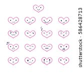 heart emoticons with different... | Shutterstock .eps vector #586428713