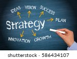 Small photo of Business Strategy concept with arrows and text on blue background