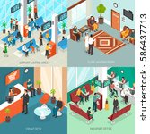 set of isometric waiting areas... | Shutterstock .eps vector #586437713
