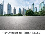 empty asphalt road and modern... | Shutterstock . vector #586443167