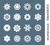 set of snowflake vector element.... | Shutterstock .eps vector #586458353