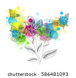 colorful creative flowers with... | Shutterstock . vector #586481093