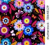 seamless floral dark pattern... | Shutterstock .eps vector #58648129