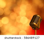 vintage micro phone with... | Shutterstock . vector #586489127