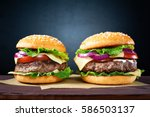 two craft beef burgers on... | Shutterstock . vector #586503137