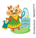 satisfied cat in dress with a...   Shutterstock .eps vector #586505777
