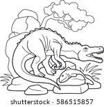 carnivorous baryonyx caught a... | Shutterstock .eps vector #586515857