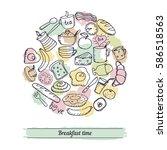 vector hand drawn breakfast... | Shutterstock .eps vector #586518563