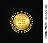 gold wreath anniversary. happy... | Shutterstock .eps vector #586529303
