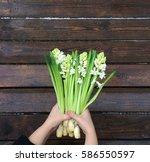 women hands armful bouquet of...   Shutterstock . vector #586550597