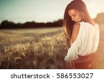 beautiful carefree woman in... | Shutterstock . vector #586553027