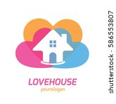 colorful cheerful house home... | Shutterstock .eps vector #586553807