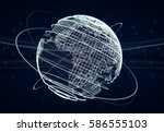 futuristic world globe...   Shutterstock . vector #586555103