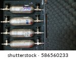 set of gas cylinders for... | Shutterstock . vector #586560233