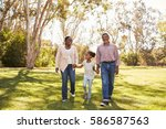 grandparents and granddaughter...   Shutterstock . vector #586587563