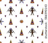 seamless pattern with native... | Shutterstock .eps vector #586590143