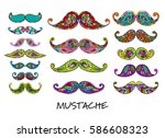 mustache collection  ornate... | Shutterstock .eps vector #586608323
