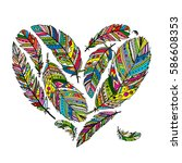 feather collection  heart shape ... | Shutterstock .eps vector #586608353